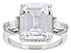 White Cubic Zirconioa Rhodium Over Silver Ring