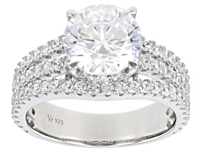 White Cubic Zirconia Rhodium Over Silver Ring