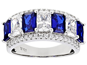 Blue Lab Created Spinel and White Cubic Zirconia Rhodium Over Silver Ring