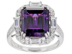 Purple and White Cubic Zirconia Rhodium Over Silver Ring