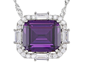 Purple and White Cubic Zirconia Rhodium Over Silver Necklace