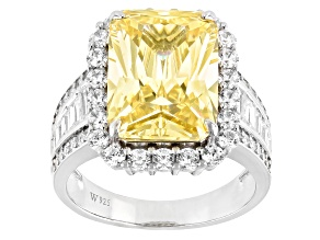 Canary And White Cubic Zirconia Rhodium Over Sterling Silver Ring 13.97ctw