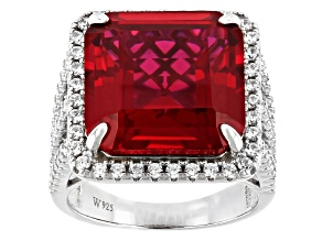 Red Lab Created Ruby And White Cubic Zirconia Rhodium Over Sterling Silver Ring 11.75ctw