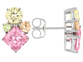 Pink, Green, Yellow, and Champagne Cubic Zirconia Rhodium Over Silver Earrings