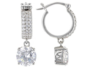White Cubic Zirconia Rhodium Over Sterling Silver Earrings. 7.62ctw