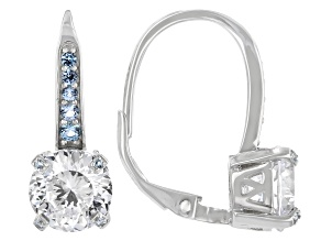 White Cubic Zirconia And Blue Lab Created Spinel Rhodium Over Sterling Silver Earrings 6.38ctw