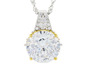 White Cubic Zirconia Rhodium Over Sterling Silver Pendant With Chain 13.58ctw