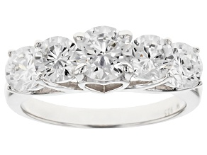 Cubic Zirconia Rhodium Over Sterling Silver Ring 4.07ctw