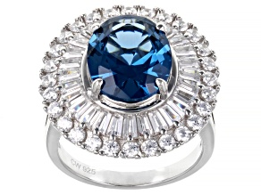 Blue Lab Created Spinel And White Cubic Zirconia Rhodium Over Silver Ring 7.20ctw