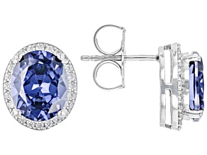 Blue and White Cubic Zirconia Rhodium Over Silver Earrings 10.04ctw