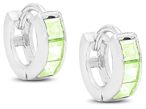 3efecd425 Green Peridot Sterling Silver Child's Hoop Earrings .48ctw. - CWO114 |  JTV.com