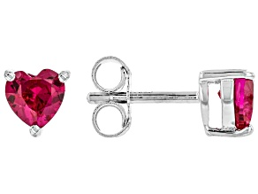 Red Lab Created Ruby Rhodium Over Sterling Silver Children's Stud Earrings .68ctw