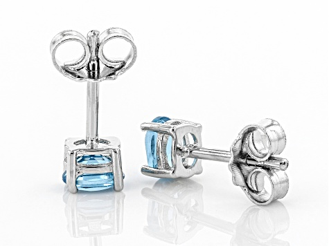 Swiss Blue Topaz Rhodium Over Sterling Silver Stud Earrings .37ctw