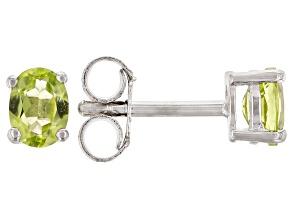 Green Peridot Rhodium Over Sterling Silver Children's Stud Earrings .29ctw