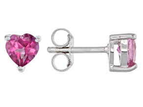 Pink Topaz Rhodium Over Silver Children's Earrings .56ctw