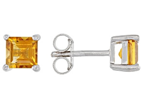 Golden Citrine Rhodium Over Silver Children's Earrings .47ctw