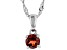 Red Garnet Rhodium Over Sterling Silver Pendant with Chain .31ct