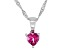 Pink Topaz Rhodium Over Silver Children's Pendant With Chain .28ct