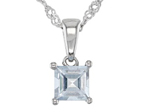 Blue Aquamarine Rhodium Over Sterling Silver Pendant with Chain .24ct