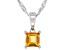 Golden Citrine Rhodium Over Silver Children's Pendant With Chain .21ct