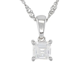 White Zircon Rhodium Over Silver Children's Pendant With Chain .34ct
