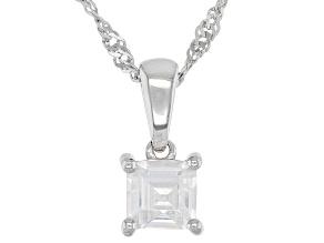White Zircon Rhodium Over Silver Children's Birthstone Pendant With Chain .34ct