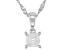 White Zircon Rhodium Over Silver Children's Pendant With Chain .34ct