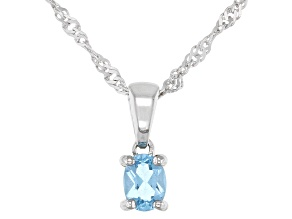 Swiss Blue Topaz Rhodium Over Sterling Silver Children's Pendant with Chain .18ct