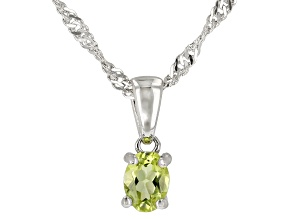 Green Peridot Rhodium Over Sterling Silver Children's Pendant with Chain .15ct