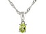 Green Peridot Rhodium Over Sterling Silver Pendant with Chain .15ct