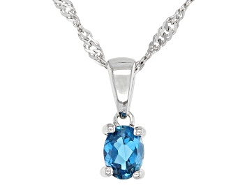 Picture of London Blue Topaz Rhodium Over Sterling Silver Children's Pendant with Chain .15ct