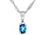 London Blue Topaz Rhodium Over Sterling Silver Children's Pendant with Chain .15ct