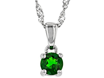 Picture of Green Chrome Diopside Rhodium Over Sterling Silver Children's Pendant with Chain .30ct