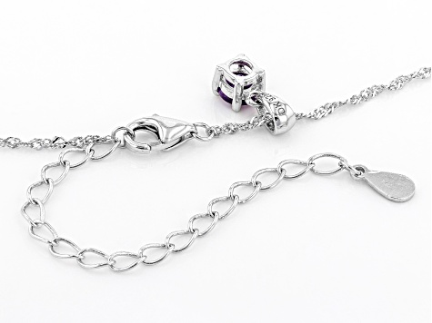 Purple Amethyst Rhodium Over Sterling Silver Pendant with Chain .21ct