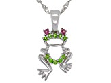 Green Chrome Diopside Rhodium Over Sterling Silver Children's Frog Pendant with Chain .13ctw