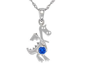 Blue Lab Created Spinel Rhodium Over Sterling Silver Dinosaur Pendant with Chain .10ct