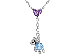 Swiss Blue Topaz Rhodium Over Sterling Silver Pendant with Chain .52ctw
