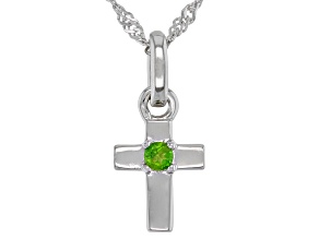 Green Chrome Diopside Rhodium Over Sterling Silver  Pendant with Chain .03ct
