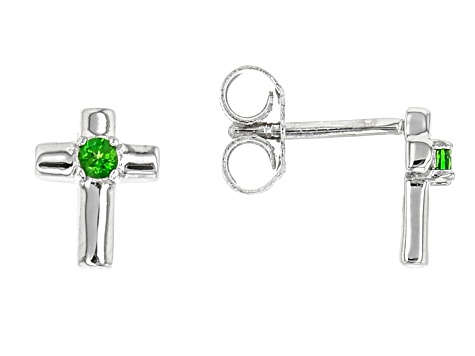 Green Russian Chrome Diopside Rhodium Over Sterling Silver Children's Stud Earrings .05ctw