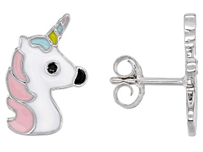 Black Spinel & Multi-Color Enamel Rhodium Over Silver Children's Unicorn Earrings .03ctw