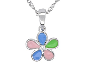 Multi-Color Enamel Rhodium Over Silver Children's Flower Pendant With Chain .02ct