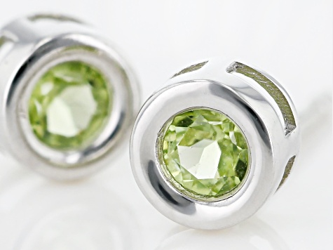 Green Peridot Rhodium Over 10k White Gold Stud Earrings .22ctw