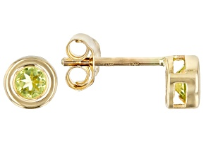 Green Peridot 10k Yellow Gold Stud Earrings .22ctw