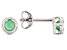 Green Sakota Emerald Rhodium Over 10k White Gold Stud Earrings .20ctw