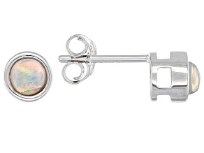 Ethiopian Opal Rhodium Over 10k White Gold Stud Earrings .19ctw