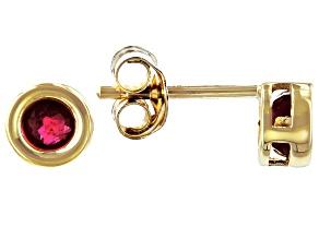 Red Mahaleo® Ruby 10k Yellow Gold Stud Earrings .22ctw