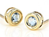 Blue Brazilian Aquamarine 10k Yellow Gold Stud Earrings .22ctw