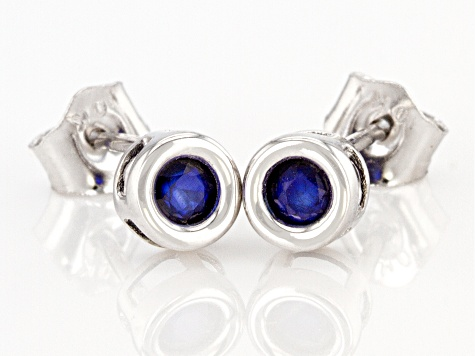 Blue Sapphire Rhodium Over 10k White Gold Stud Earrings .20ctw