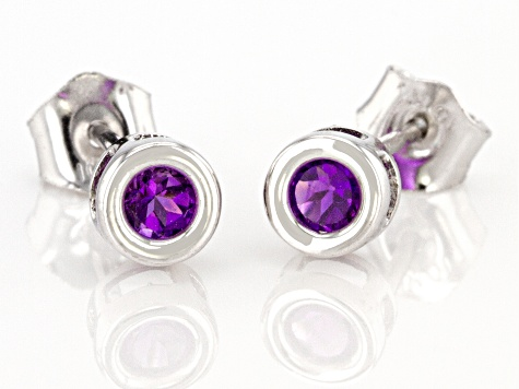 Purple African Amethyst Rhodium Over 10k White Gold Stud Earrings .20ctw