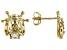 White Zircon 10k Yellow Gold Ladybug Stud Earrings .20ctw